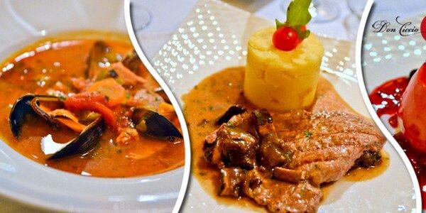 4chodové menu ve středomořské restauraci Don Ciccio