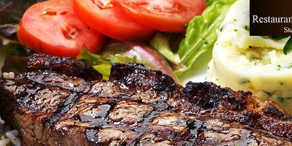 Hovězí hanger steak s přílohami pro 2-3 osoby v rest. Pawlovnia