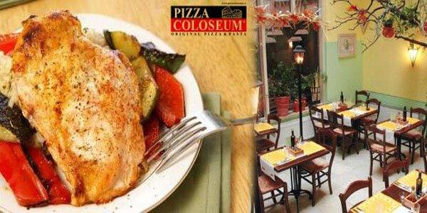 519 Kč za večeři a víno pro 2 v Pizza Coloseum. Sleva 45 %.