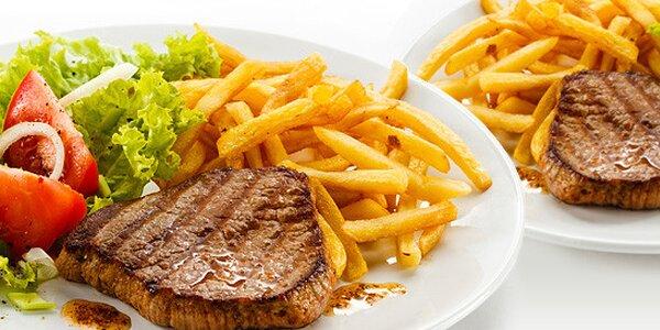 2x grilovaná krkovička se steakovými hranolkami