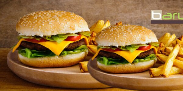 Velký hovězí hamburger s přílohou pro 2 či 4 osoby