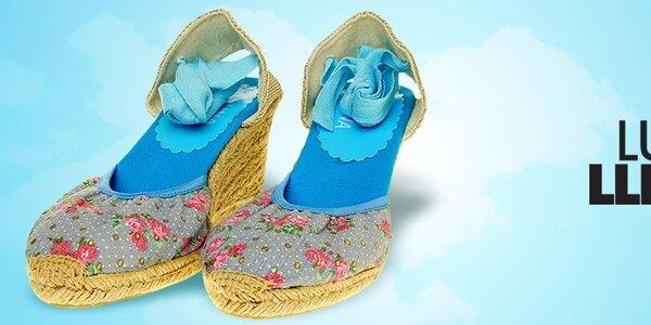 Dámské boty Luna Llena - květinové potisky a jutové klínky