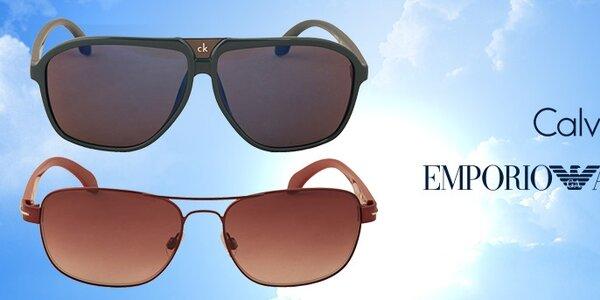 Pánské sluneční brýle Calvin Klein a Emporio Armani