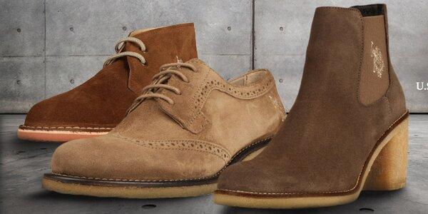 Stylové semišové a kožené boty U.S. Polo