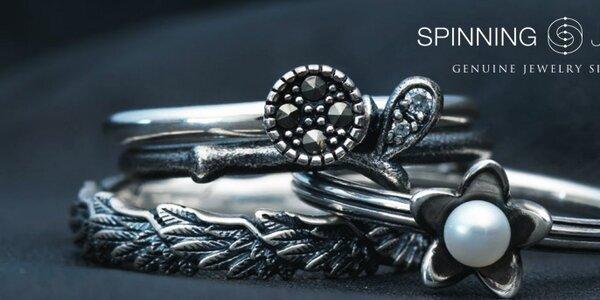 Dámské stříbrné prstýnky a náušnice Spinning