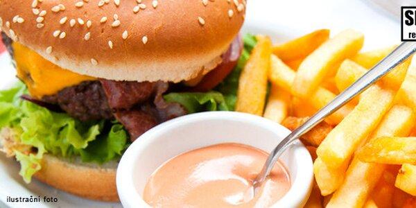 2 hovězí burgery Spadla Pec + steakové hranolky