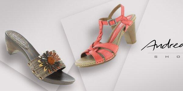 Nápadité dámské sandálky a barevné mokasíny Andrea Conti