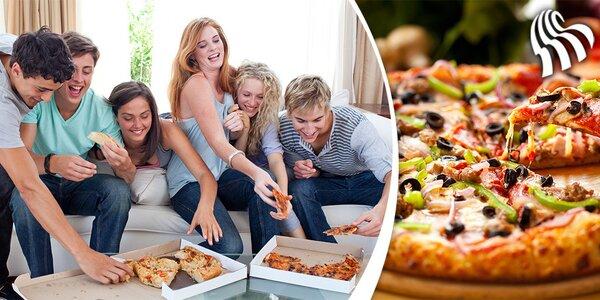 2 pizzy dle výběru i s rozvozem i s rozvozem a krabicí