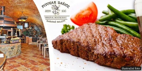 Steakové menu pro dva v Dašických sklepech