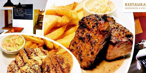 Hovězí steak Maminha i lahodný mix grill