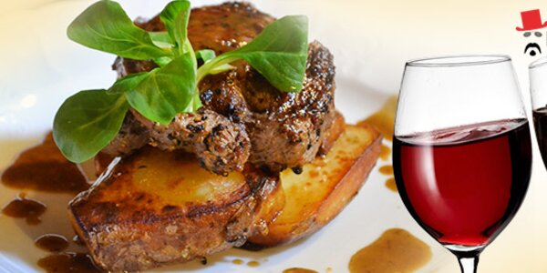 2× 200g RIB EYE steak a 2 sklenky francouzského vína