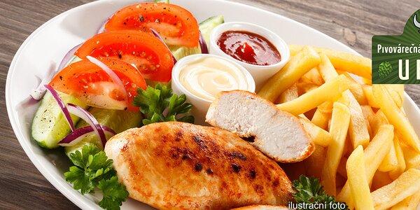 Mísa plná masa + hranolky i salát