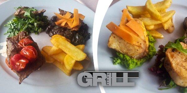 Grilované maso z farmářského kuřátka i Iberijského prasátka