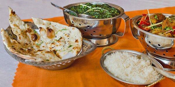 Jehněčí nebo kuřecí indické menu pro dva