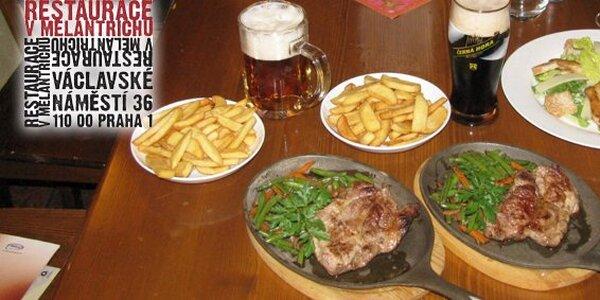 Dvě grilované šťavnaté krkovičky s přílohou a dva točené pivní speciály!