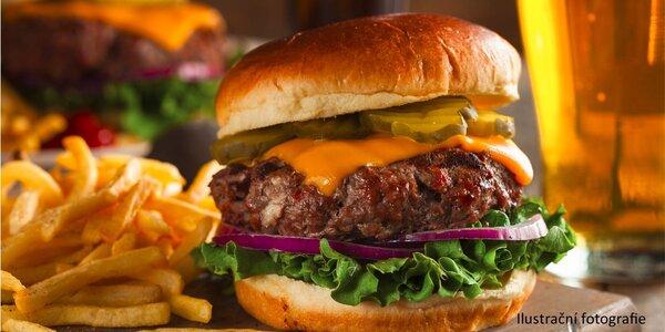 Šťavnatý burger, hranolky a nápoj dle výběru