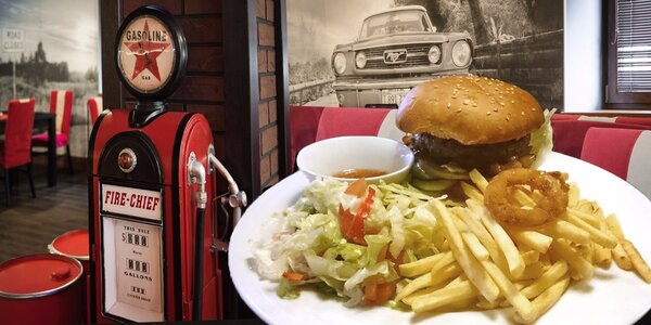 Nabité burger menu v retro restauraci na americký způsob