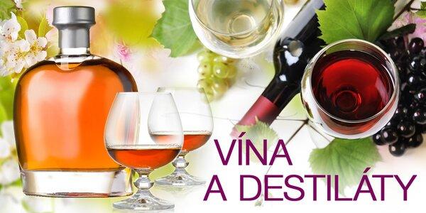 Výběr vín a destilátů různých značek