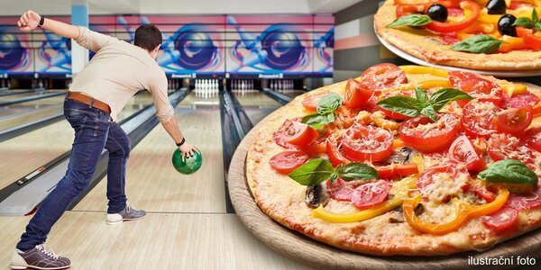 Bowling a 2 křupavé pizzy v klubu Bowling Sky