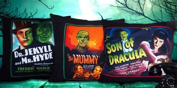 Bavlněné polštářky s potiskem klasických horrorových plakátů