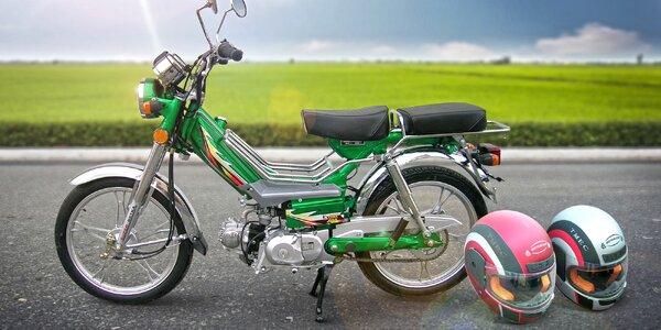 Motocykl Betka s 2 přilbami dle výběru a dárkem