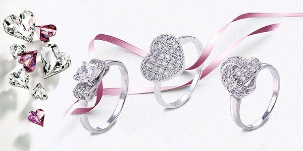 Rhodiované prsteny Zirconia Delicate se třpytivými zirkony