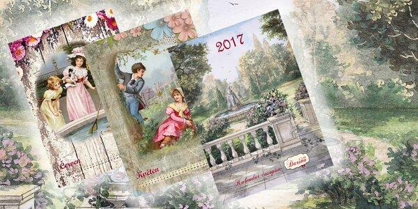 Malebný vintage nástěnný kalendář pro rok 2017