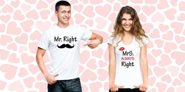Valentýnské sety triček pro zaláskované páry