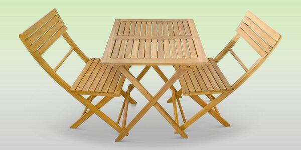 Balkonový set stolu a 2 židlí z akáciového dřeva
