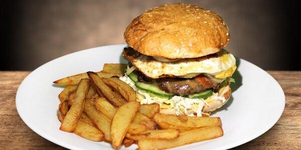 2× poctivý burger s domácími hranolky i bulkou