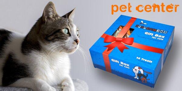 Dárková kazeta Huhubamboo plná kočičích pamlsků