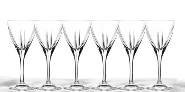 6 luxusních křišťálových sklenic 250ml RCR