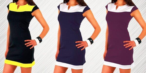 Dámské dvoubarevné šaty s krátkým rukávem