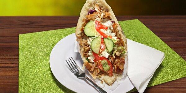 Velký kuřecí kebab s polévkou nebo pitím