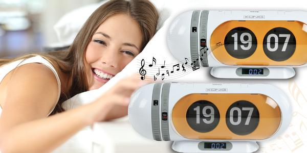 Retro radiobudík s překlápěcími hodinami