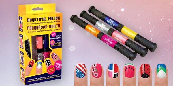 Kreativní sada na zdobení nehtů: 6 barev laků