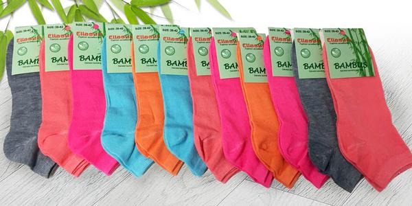 12 párů barevných bambusových ponožek