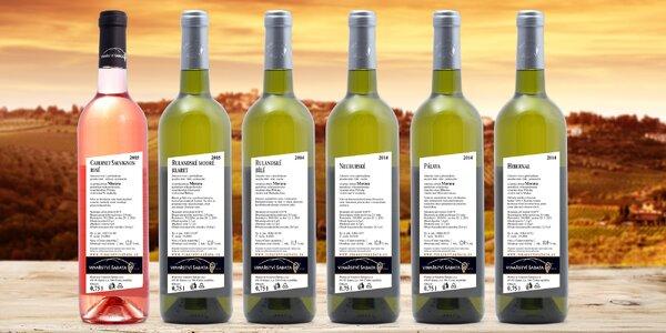 Růžová a bílá vína z rodinného Vinařství Šabata