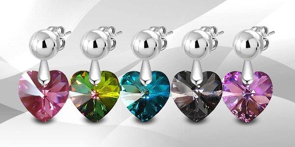 Ocelové visací náušnice srdce s krystaly Swarovski