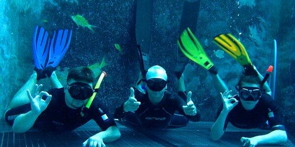 Zkušební ponor na nádech v potápěčské jámě