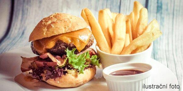 2 burgery s masem z českého býčka a příloha