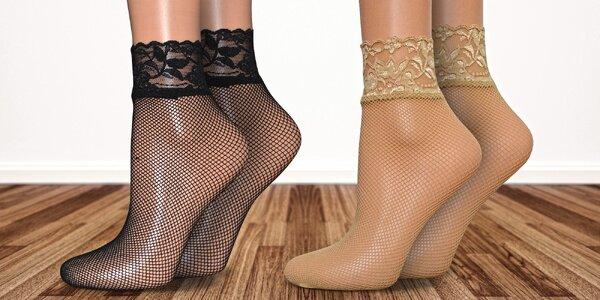 6 párů síťovaných ponožek s krajkovým lemem