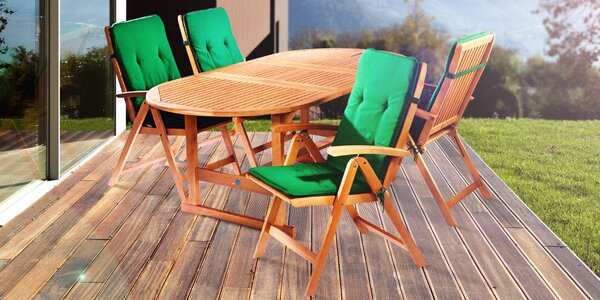 Zahradní set 4 židlí a stolu z eukalyptového dřeva