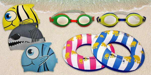 Dětské plavecké pomůcky: čepice, brýle i kruhy
