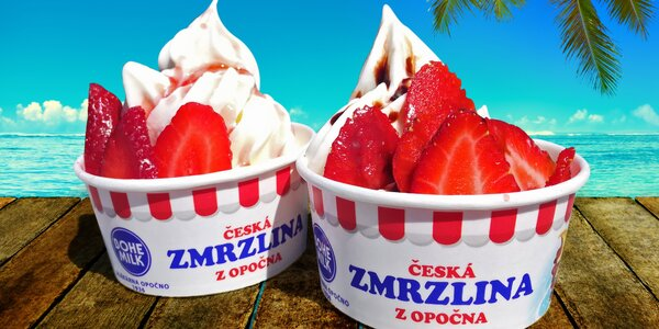 Svěží jogurtová zmrzlina s jahodami a polevou