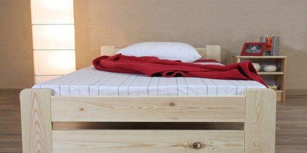 Masivní dřevěná postel s matrací i roštem nebo bez matrace