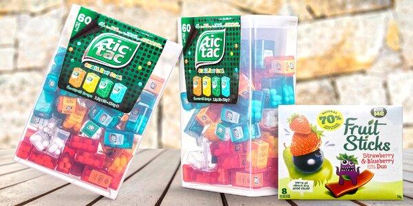 Velké balení bonbonů Tic Tac a ovocné tyčinky