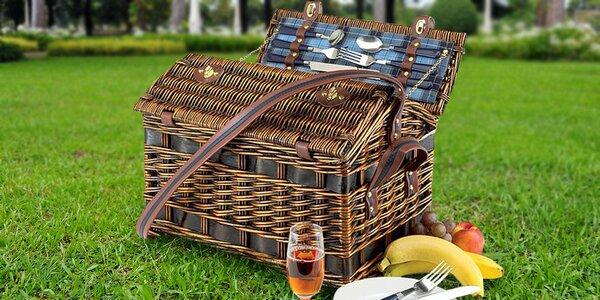 Proutěný koš na piknik včetně nádobí