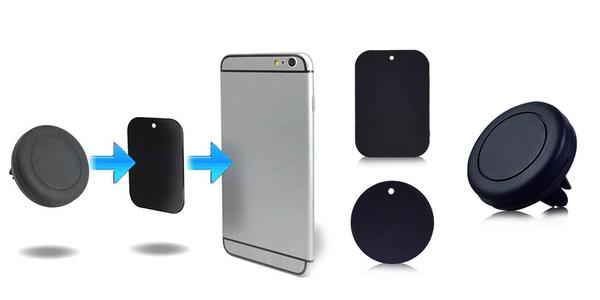 Magnetický držák na mobilní telefon včetně 2 plíšků