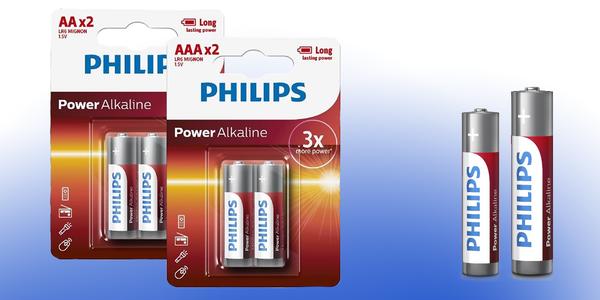 Oceňované tužkové baterie Philips typu AA nebo AAA